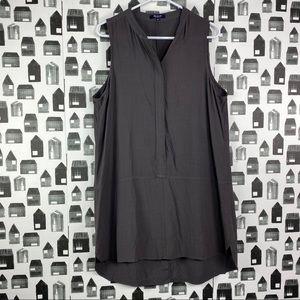 Madewell | Grey Sleeveless V-Neck Midi Dress